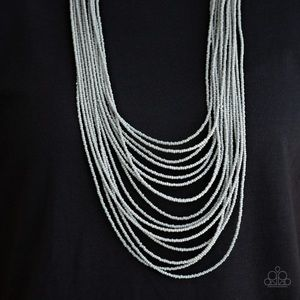 Gray Seed Bead Necklace Earring Set NWT
